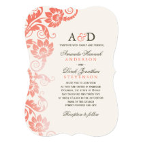 Classy Ombre Coral Flowers Wedding Invitations