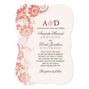 Coral Wedding Invitations Announcements Zazzle