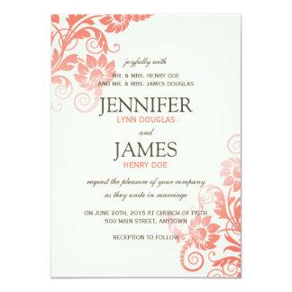 """Classy Ombre Coral Wedding Invitations 4.5"""" X 6.25"""" Invitation Card"""