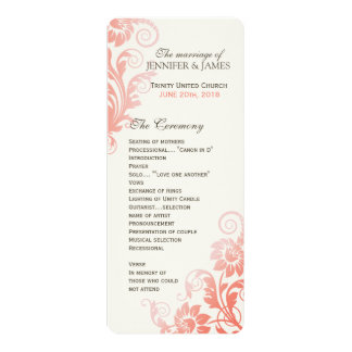 Classy Ombre Coral Wedding Program Card
