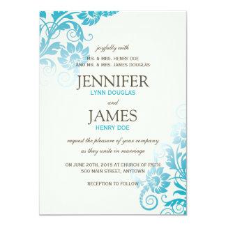 "Classy Ombre Teal Wedding Invitations 4.5"" X 6.25"" Invitation Card"