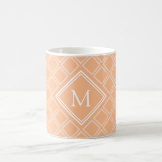 Classy Orange and White Diamond Pattern Monogram