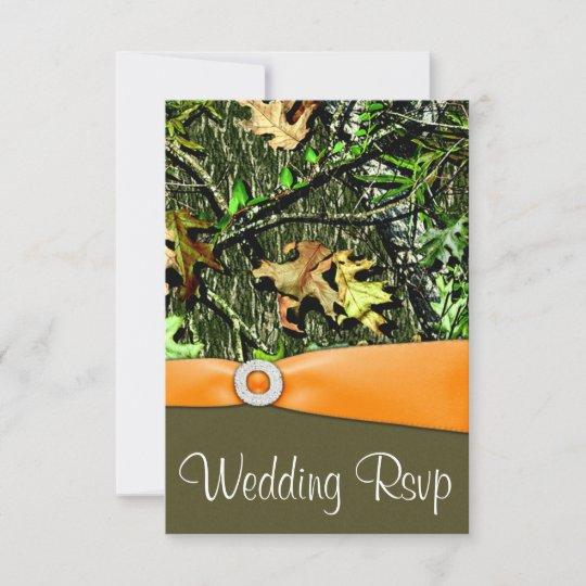 Classy Camo Wedding Ideas: Classy Orange Hunting Camo Wedding RSVP Cards