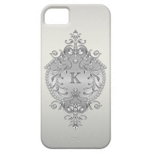 Classy, Ornate Diamonds Monogram iPhone 5 Covers
