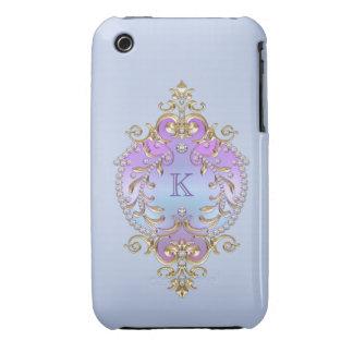 Classy, Ornate Diamonds Monogram iPhone 3 Case-Mate Case