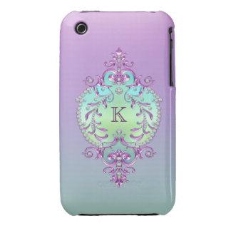 Classy, Ornate Diamonds Monogram iPhone 3 Cover