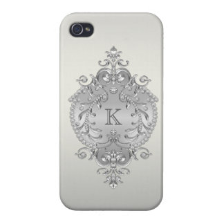Classy, Ornate Diamonds Monogram iPhone 4 Cover