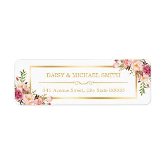 Classy Pastel Flowers White Chic Gold Frame Label