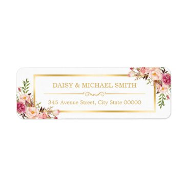Christmas Themed Classy Pastel Flowers White Chic Gold Frame Label