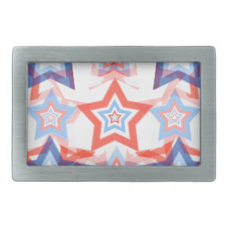 Classy Patriotic Stars Red White & Blue Pattern Rectangular Belt Buckle