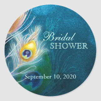 Classy Peacock Blue Bridal Shower Favor Stickers