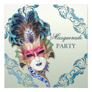 Classy Peacock Feathers Mask Masquerade Party Card