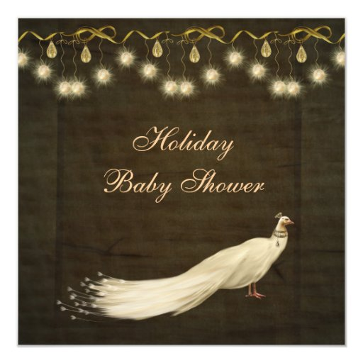 Classy Peacock Neutral Christmas Baby Shower Card