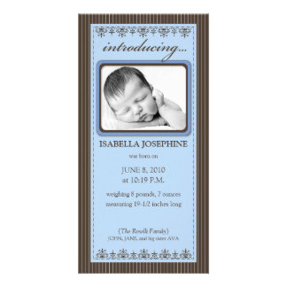 Classy Periwinkle Customized Birth Announcement