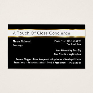 Classy Personal Concierge Businesscards Business Card