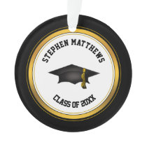 Classy Personalized Graduation Cap and Tassel Ornament