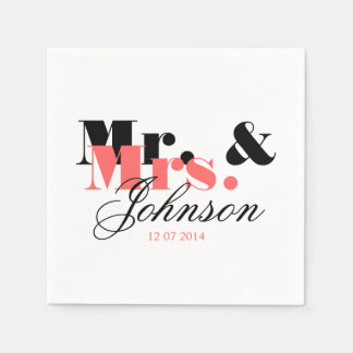 Classy personalized Mr and Mrs wedding napkins Disposable Napkin