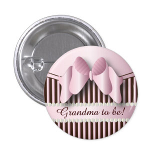 Classy Pink and Brown Stripes Pinback Button