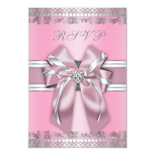 Classy Pink and Silver RSVP Card