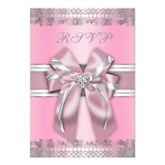 Classy Pink and Silver RSVP Custom Announcement