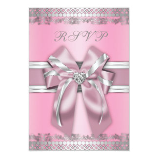 Classy Pink and Silver RSVP 3.5x5 Paper Invitation Card
