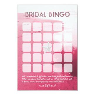 "Classy Pink Beach Theme 5x5 Bridal Bingo Cards 3.5"" X 5"" Invitation Card"