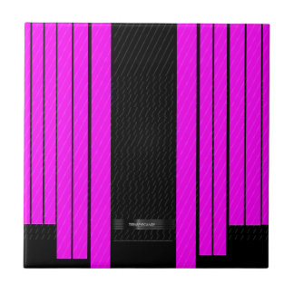 Classy Pink Black Flowing Banners Ceramic Tile