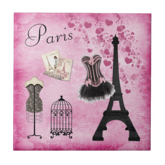 Classy Pink Black Paris Fashion Eiffel Tower Tile