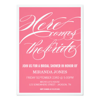 Classy Pink Bridal Shower Invitations