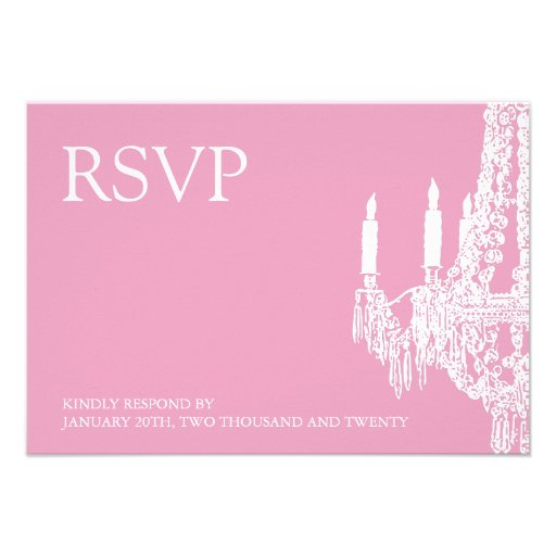 Classy Pink Chandelier RSVP Cards (3.5x5)