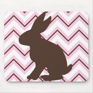 Classy Pink Chocolate and White Chevrons & Rabbit Mouse Pad