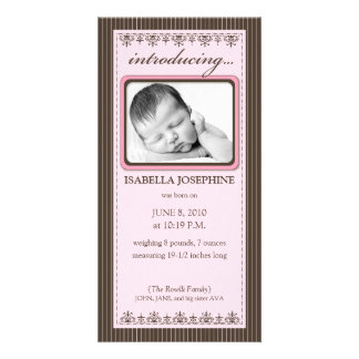 Classy Pink Customized Birth Announcement