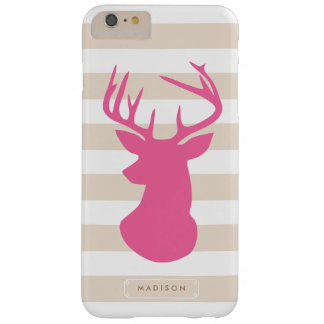 Classy Pink Deer Head Linen Stripes Personalized Barely There iPhone 6 Plus Case