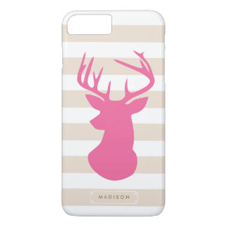 Classy Pink Deer Head Linen Stripes Personalized iPhone 7 Plus Case