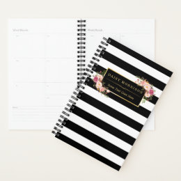Classy Pink Floral Girly Gold Black White Stripes Planner