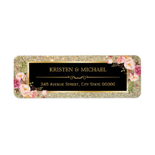 Classy Pink Floral Gold Glitter Sparkles Wedding Label at Zazzle