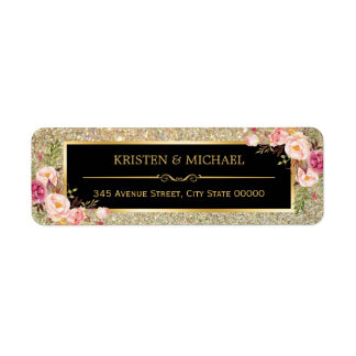 Classy Pink Floral Gold Glitter Sparkles Wedding Label