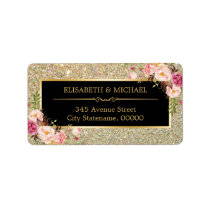 Classy Pink Floral Gold Glitter Sparkling Wedding Label