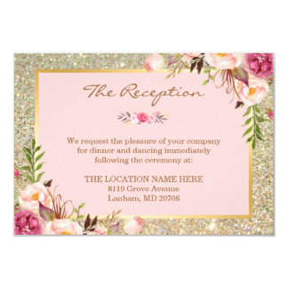 Classy Pink Floral Gold Glitter Wedding Reception Card