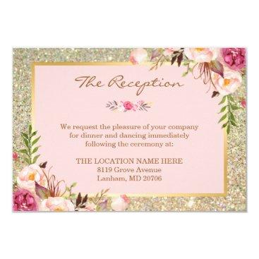 CardHunter Classy Pink Floral Gold Glitter Wedding Reception Card