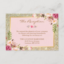 Classy Pink Floral Gold Glitter Wedding Reception Enclosure Card