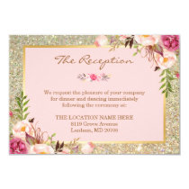 Classy Pink Floral Gold Glitter Wedding Reception Invitation