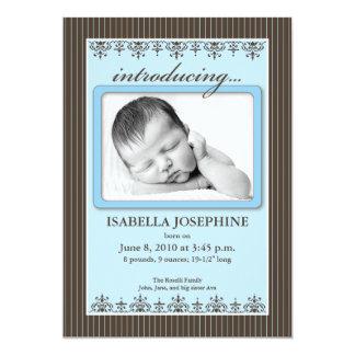 "Classy Pinstripe Blue 5x7"" Birth Announcement"