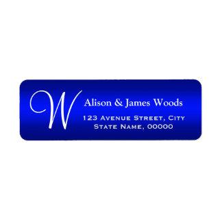 Classy Plain Blue Gradient Monogrammed Wedding Label