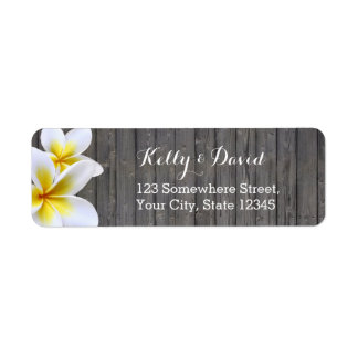 Classy Plumeria Flower Wood Return Address Labels
