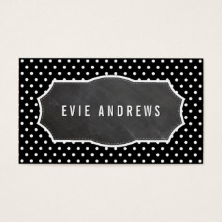 CLASSY polka dot pattern chalkboard panel black Business Card