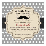 Classy Polka Dots Mustache Little Man Baby Shower Card