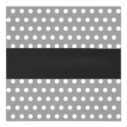 Classy Polka Dots Mustache Little Man Baby Shower Custom Announcement (back side)