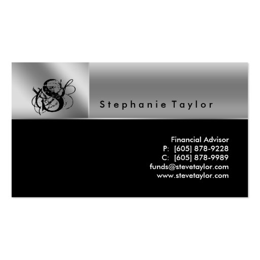 Classy Professional Black Silver Business Card