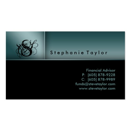 Classy Professional Black Teal Business Card